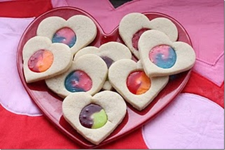 Stained Glass Valentines Cookies